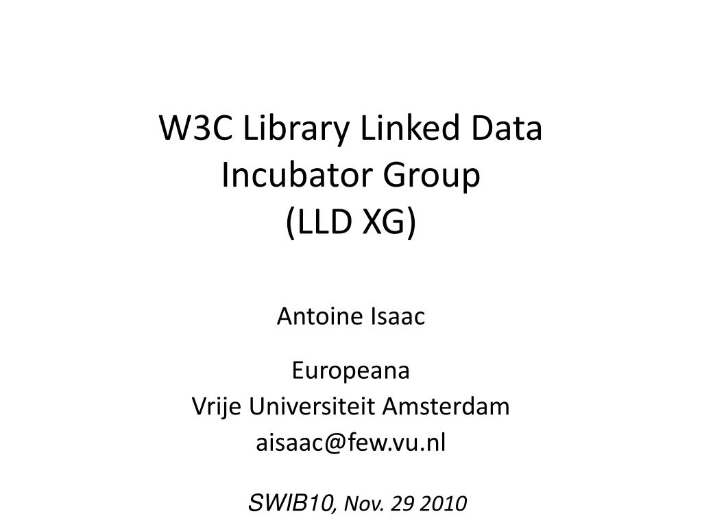 w3c library linked data incubator group lld xg l.