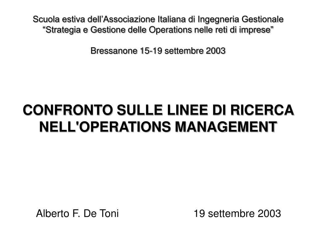 confronto sulle linee di ricerca nell operations management l.