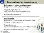 datavarehuset vs fagsystemene