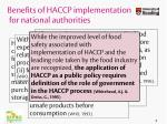 benefits of haccp implementation for national authorities