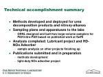 technical accomplishment summary