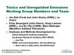 toxics and unregulated emissions working group members and team
