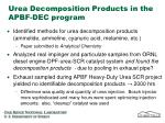 urea decomposition products in the apbf dec program