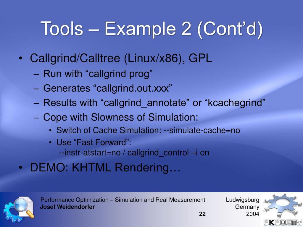 Tools – Example 2 (Cont'd)