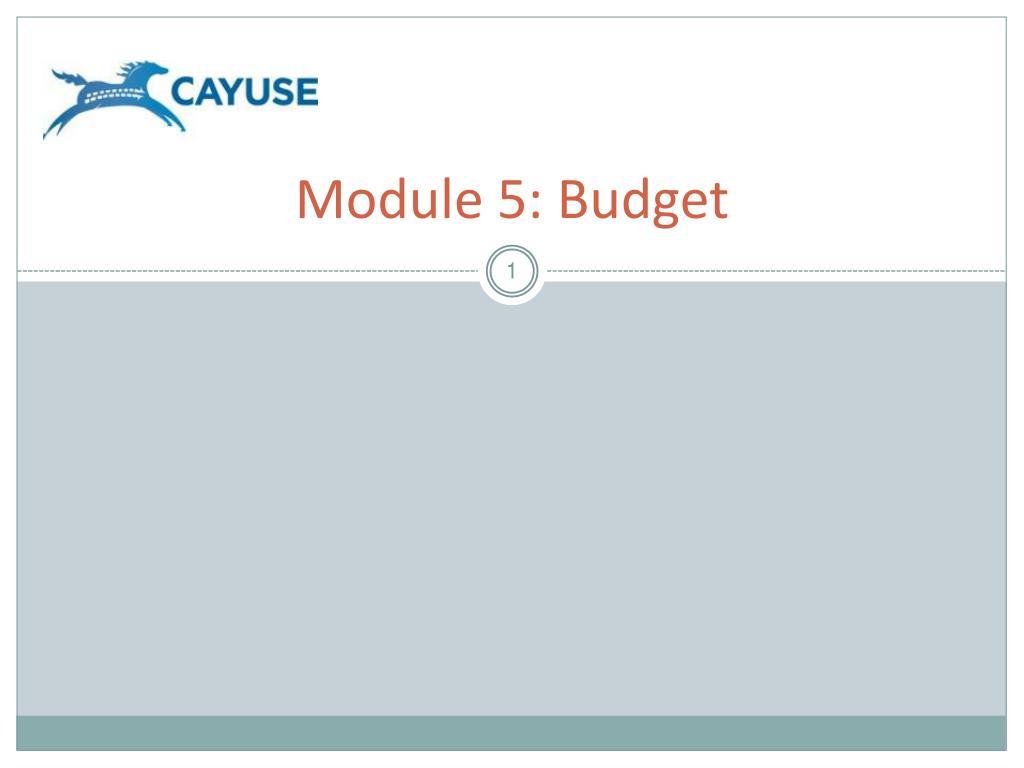 module 5 budget l.