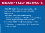 mccarthy self destructs