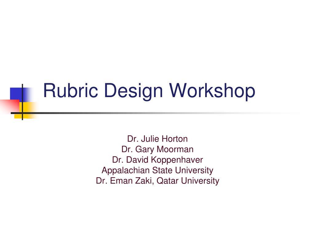 rubric design workshop l.