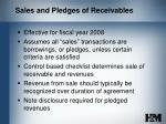 sales and pledges of receivables