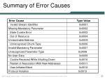 summary of error causes
