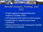 benefits analysis findings and soc