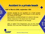 accident in a private beach