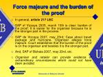 force majeure and the burden of the proof