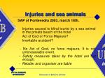 injuries and sea animals