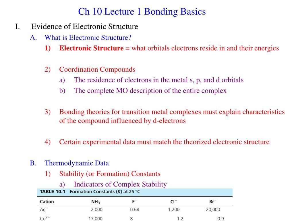 ch 10 lecture 1 bonding basics l.