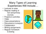 many types of learning experiences will include