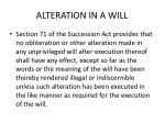 alteration in a will