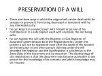 preservation of a will