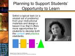 planning to support students opportunity to learn