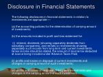 disclosure in financial statements