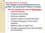 an example of change the change to new computerized record system by using lewin s theory of change