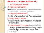 barriers of change resistance