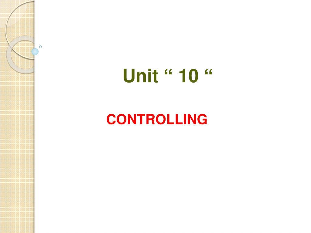 unit 10 l.