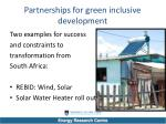 partnerships for green inclusive development