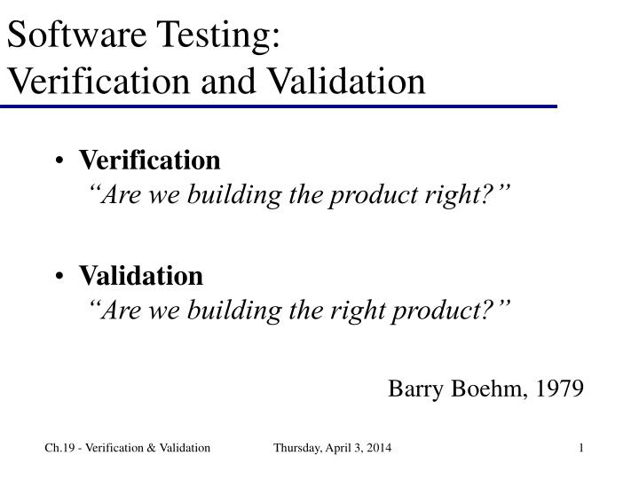 software testing verification and validation n.