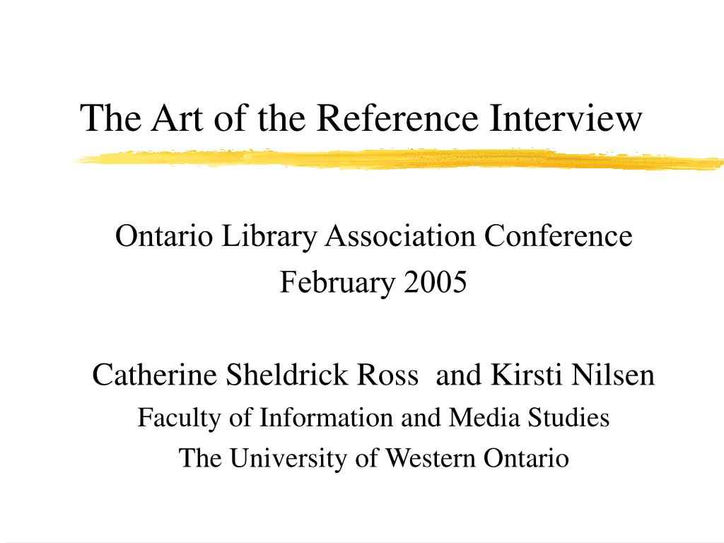 the art of the reference interview l.