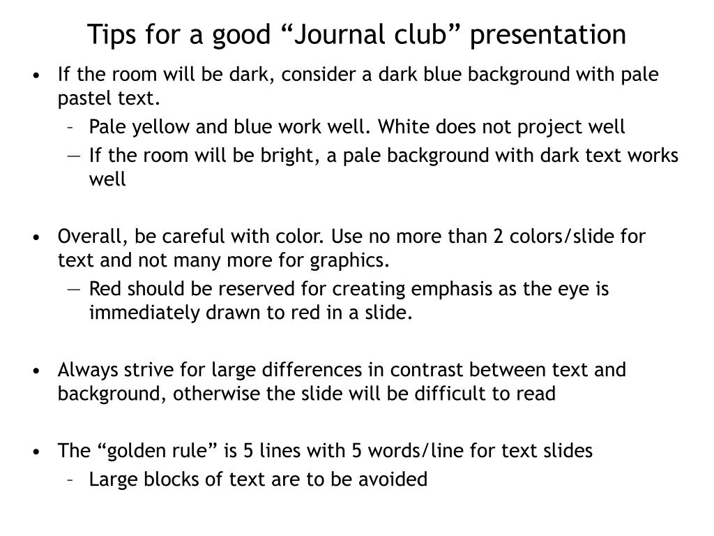 tips for a good journal club presentation l.