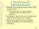 3 step process for adjusting entries