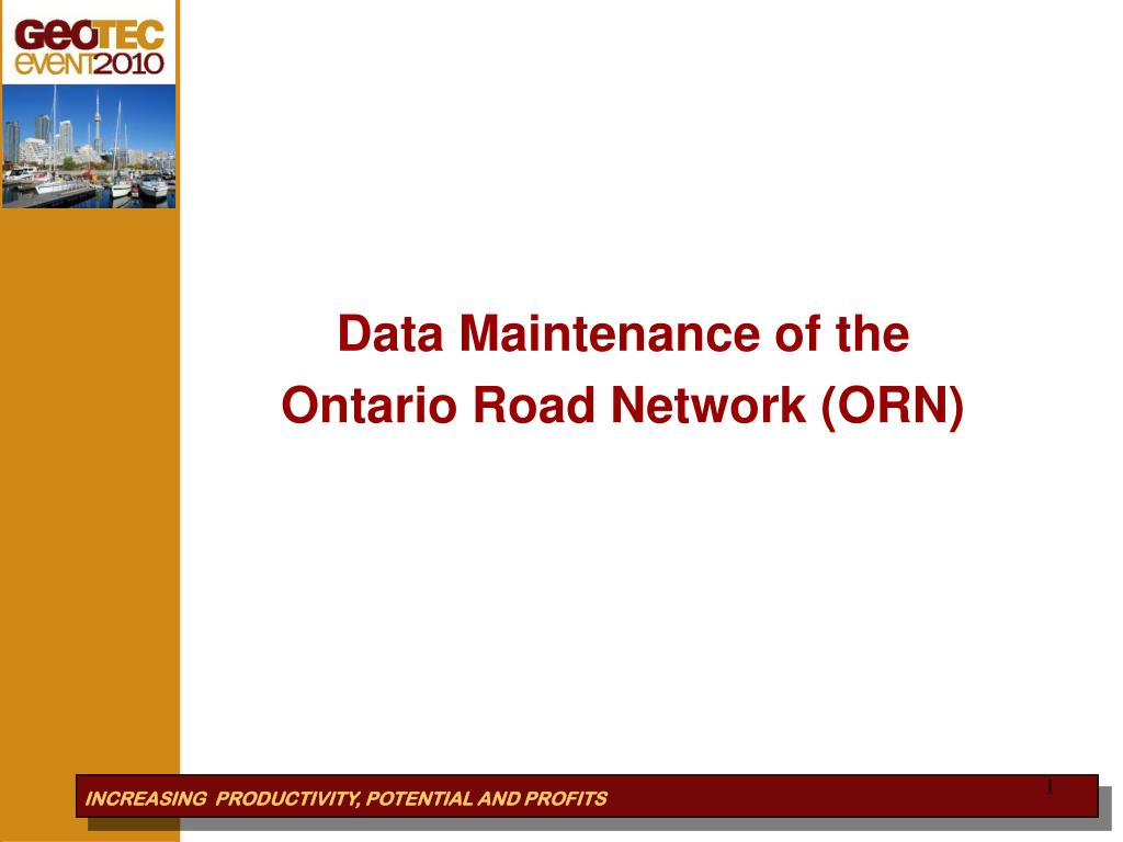 data maintenance of the ontario road network orn l.