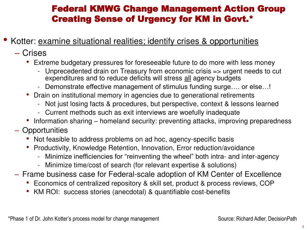 federal kmwg change management action group creating sense of urgency for km in govt l.