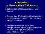 conclusions for the algorithm performance