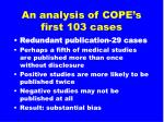 an analysis of cope s first 103 cases