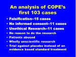 an analysis of cope s first 103 cases10