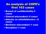 an analysis of cope s first 103 cases12