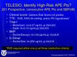 telesio identify high risk ape pts 201 prospective consecutive ape pts and sbp 90
