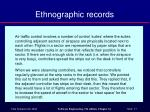ethnographic records