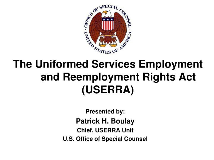 the uniformed services employment and reemployment rights act userra n.