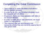 completing the great commission