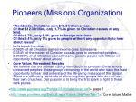 pioneers missions organization