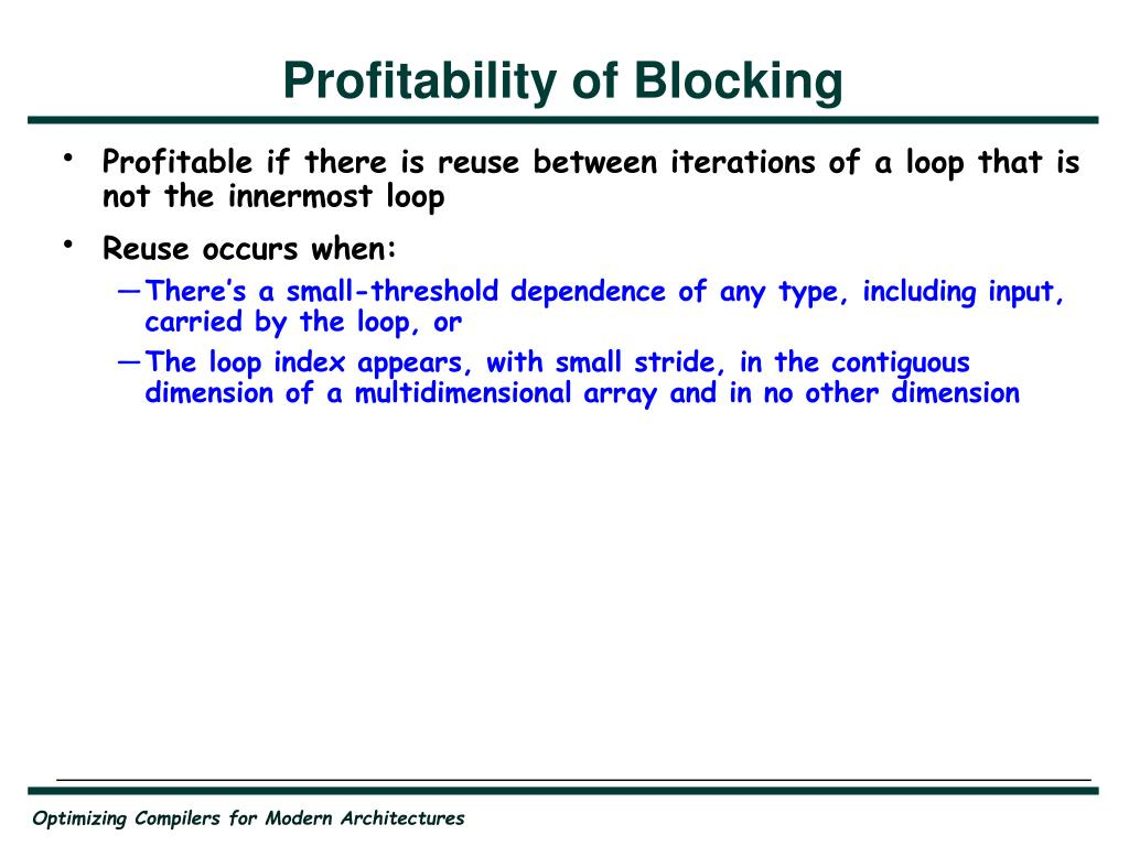 Profitability of Blocking