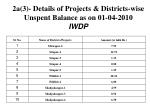 2a 3 details of projects districts wise unspent balance as on 01 04 2010 iwdp