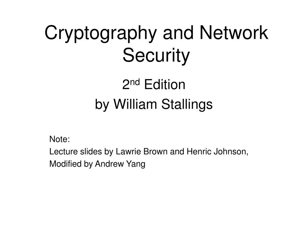 cryptography and network security l.