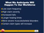 what we anticipate will happen to our workforce