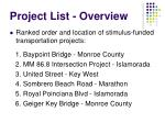 project list overview