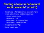 finding a topic in behavioral audit research cont d