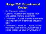 hodge 2001 experimental design