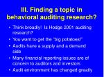 iii finding a topic in behavioral auditing research